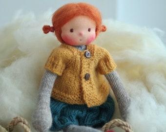 "Waldorf doll, Handmade art doll, Knitted doll 14"" Inaya by Peperuda dolls, Soft doll, OOAK"