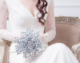 Wedding Bouquet - Bridal Bouquet of Silver Flowers -  Flower Wedding Bouquet - Silver Bouquet, Fabulous Brooch Bouquet Alternative