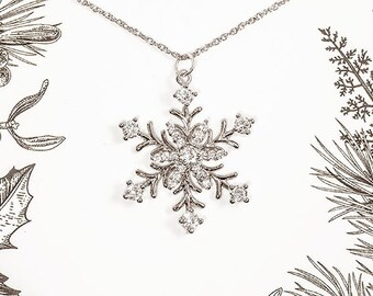 Snowflake Necklace - Christmas Necklace, Silver Snowflake Necklace, Christmas Jewelry, Crystal Snowflake Necklace - Kailyn Necklace
