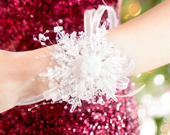 Wrist Corsage - Winter Wedding or Winter Formal Dance - Snowflake Corsage - Bridesmaid Corsage - Christmas Wedding - Winter Dance