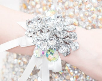 Wedding Corsage Silver, Prom Corsage, Wrist Corsage - Raina Corsage with Iridescent Leaves - Flower Corsage w/ Custom Ribbon & Band, Rainbow