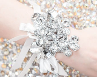 Wrist Corsage Silver, Prom Corsage, Wedding Corsage - Raina Corsage with Silver Leaves - Silver Flower Corsage w/ Custom Ribbon & Band