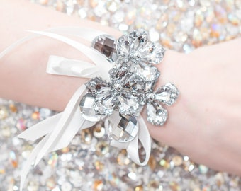Prom Corsage Silver, Wedding Wrist Corsage - Petite Raina Corsage with Silver Leaves - Silver Flower Corsage w/ Custom Ribbon & Band
