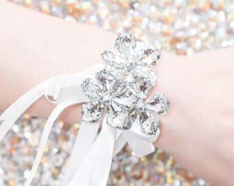 Wedding Corsage Silver, Prom Wrist Corsage - Petite Raina Corsage - Flower Corsage w/ Custom Ribbon & Band, Silver Crystal, Prom Corsages