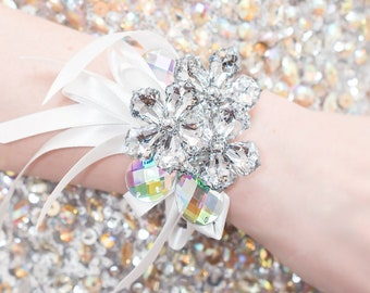 Corsage Prom, Silver, Wedding Wrist Corsage - Petite Raina Corsage with Iridescent Leaves - Flower Corsage w/ Custom Ribbon & Band, Rainbow