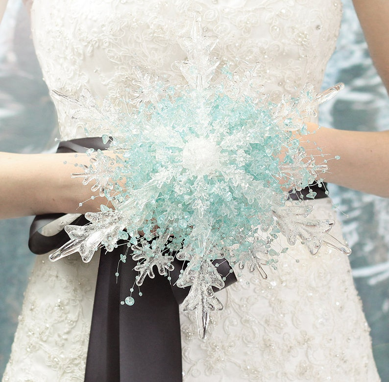 Fabulous Brooch Bouquet Alternative with Boutonniere Crystal Snowflake Bridal Bouquet Frozen Ice Winter or Christmas Wedding Aqua Blue