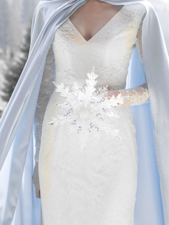 Blue Snowflake Bridal Bouquet With Swarovski Crystals Etsy