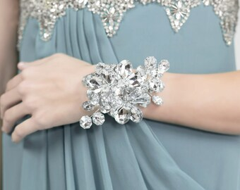 Wedding Corsage - Bridesmaid Corsage - Silver Flower Wrist Corsage - Wedding Corsage -  - Flower Corsage