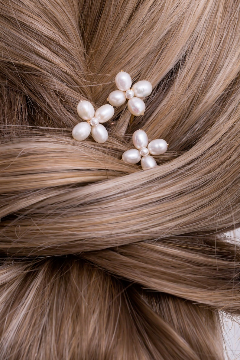 in White Freshwater Pearl Small Camille Hair Pins Boho Wedding Hair Accessory Gold Set of 3 or Rose Gold Setting Silver