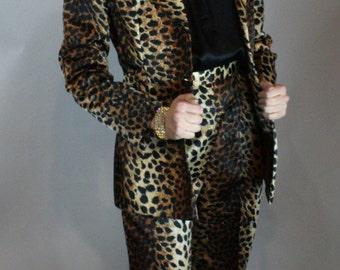 Vintage 1970s Bombshell Lilli Ann Leopard RUNWAY 3- Piece Suit