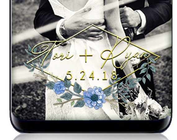 Gold and Blue Flowers Snap Chat Filter - Custom Wedding Geofilter!