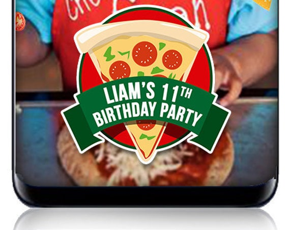 Pizza Party Themed Snap Chat Filter - Kids Birthday Party Geofilter - Custom Filter