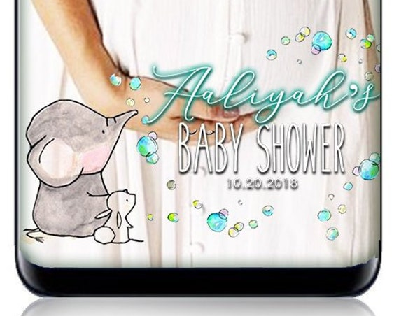 Elephant-themed Baby Shower Custom SnapChat Filter - Personalized Geofilter Bubbles Elephants