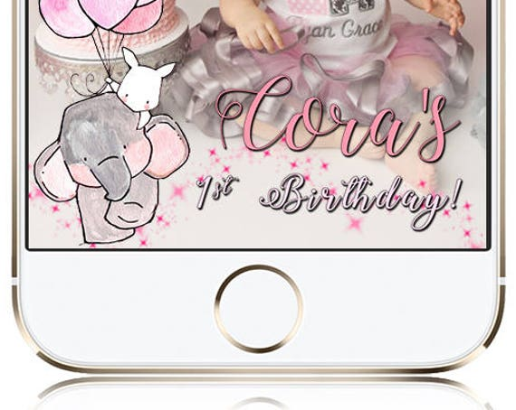 Elephant Pink Balloons Snap Chat Filter - Customize!