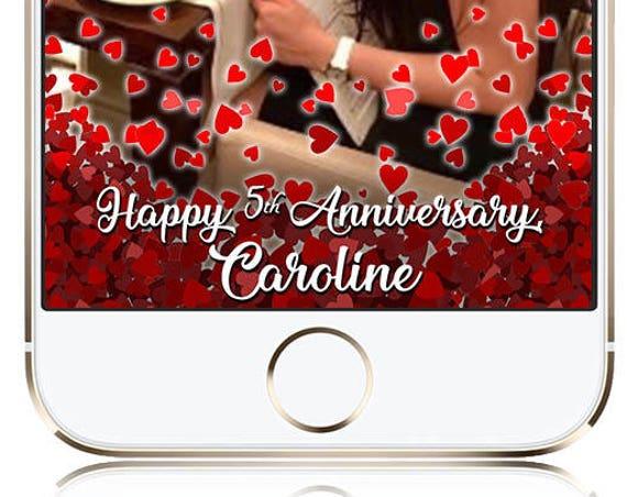 Rose Petal Anniversary Snap Chat filter - Customize!
