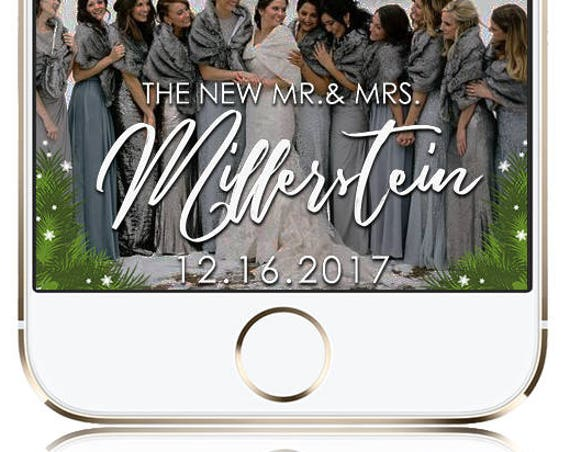 Winter Wedding or Event Pine Snap Chat Filter - Customize for any event!