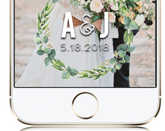 Green foliage Wedding Snap Chat Filter - Customize!