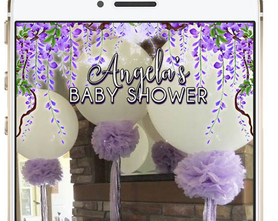 Mother's Day or Bridal Shower Lavender Hanging Flower Snap Chat Filter - Custom Geofilter!