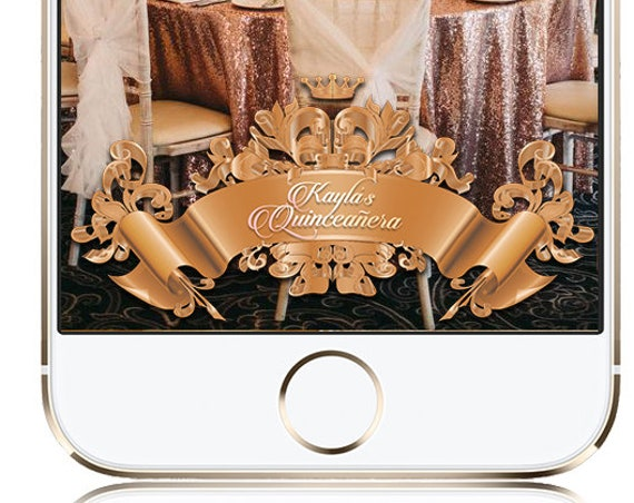Rose gold ribbon quinceanera sweet sixteen Snap Chat Filter