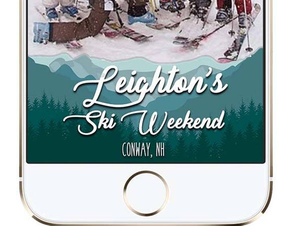 Ski Trip Snap Chat Filter - Mountains and Clouds themed