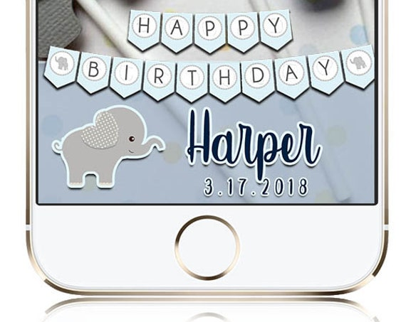 Blue and Grey Elephant Birthday Snap Chat Custom Geofilter