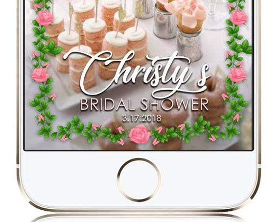 Bridal Shower Rose Border Snap Chat Filter