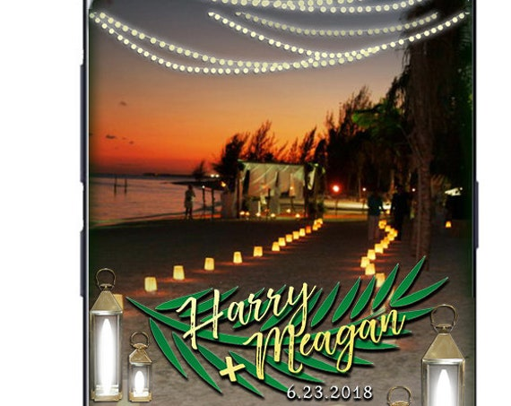 Palm and string lights SnapChat filter - Custom destination tropical wedding geofilter!