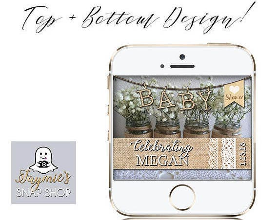 BABY shower Burlap and Lace Themed Snap Chat Filter - PERSONALIZE!