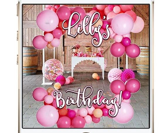 Pink Balloon Top + Bottom Snap Chat Filter - Custom Geofilter!