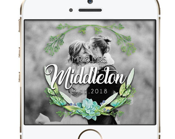 Greenery Top and Bottom Wedding Snap Chat Filter - Customize!
