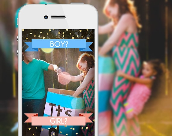 Gender Reveal Banner Gold Confetti Party SnapChat Filter - Boy or Girl?