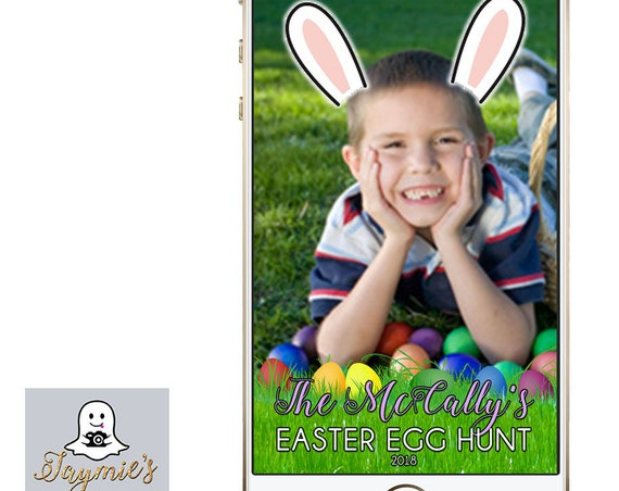Easter Egg Hunt Snap Chat Filter with rabbit ears - Customize!