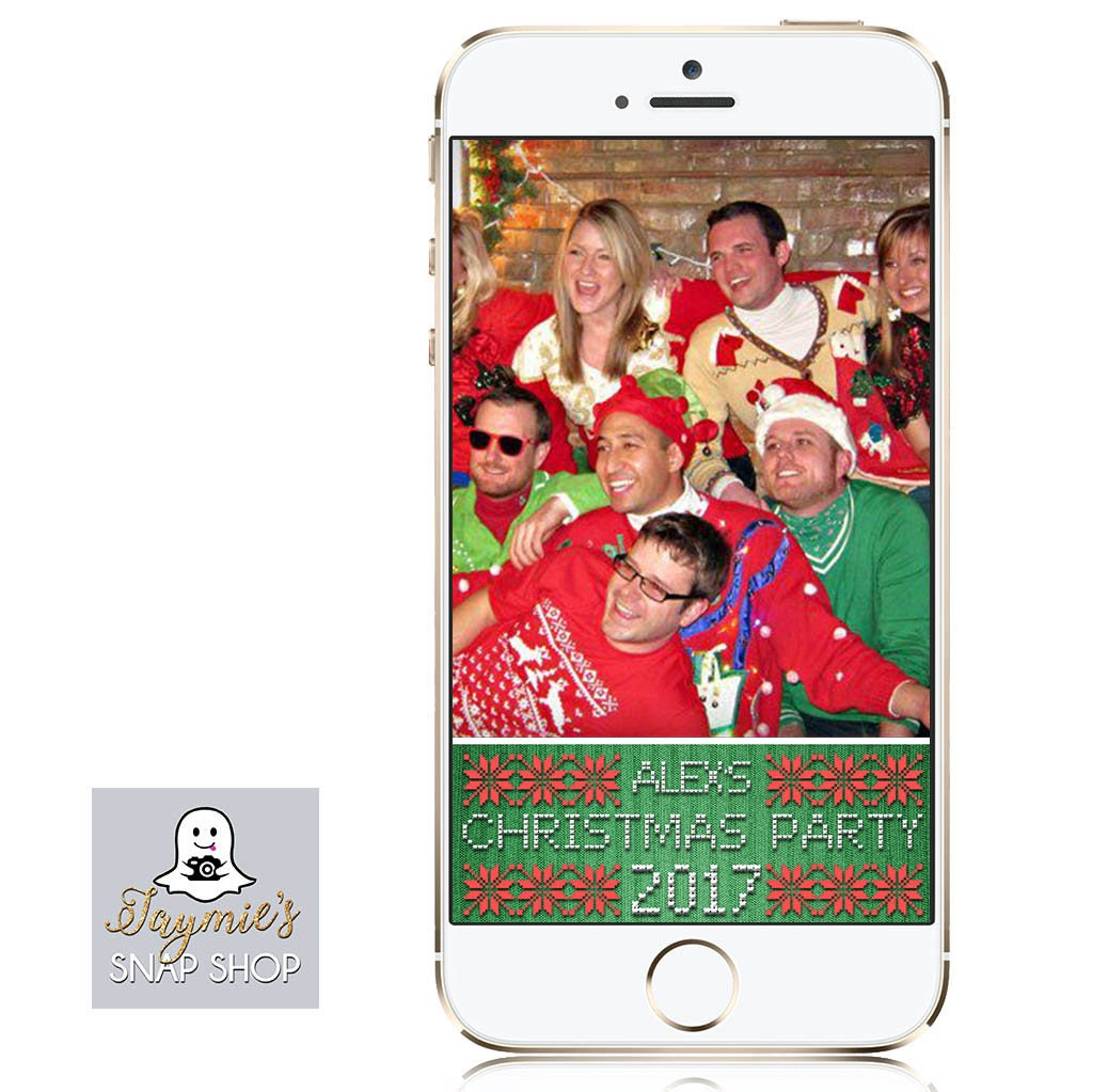 ugly christmas sweater party snapchat filter customize