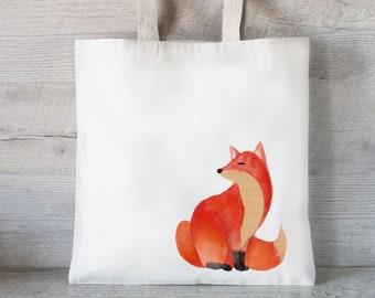 Fox tote bag Fox head Watercolor fox Red fox Fox bag Fox print Fox gift Fox illustration Foxy Market bag Mindfulness gift Market bag