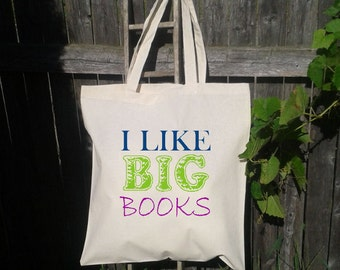15x15x4 Canvas Tote- I like big books  -Shopping- Grocery