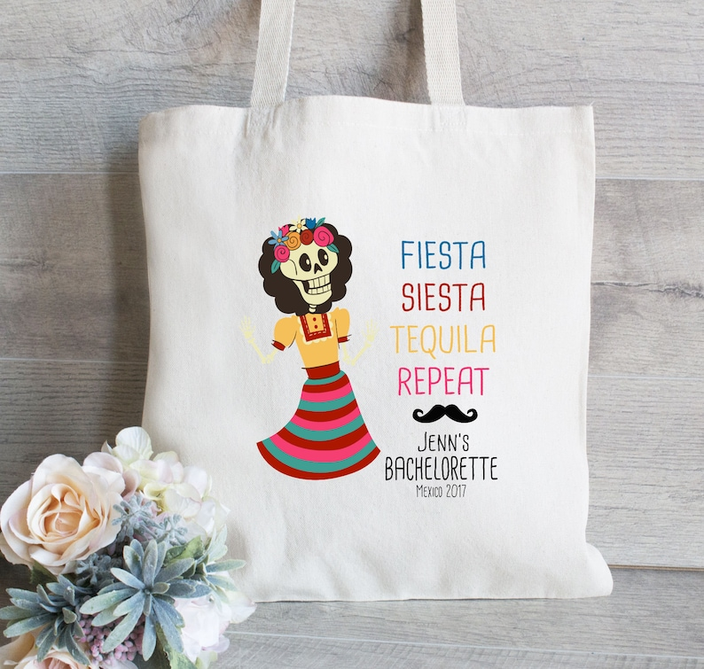 Canvas Tote Bag Bachelorette Tote Bag Fiesta Siesta Repeat -Mexican Wedding Day of the Dead Mexico Bachelorette Tote Bag