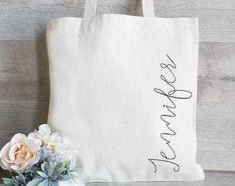 Custom Tote Bag with Name - Canvas Tote Bag - Personalized Tote Bag Bridesmaid Tote Bag - Holiday Gift Bag