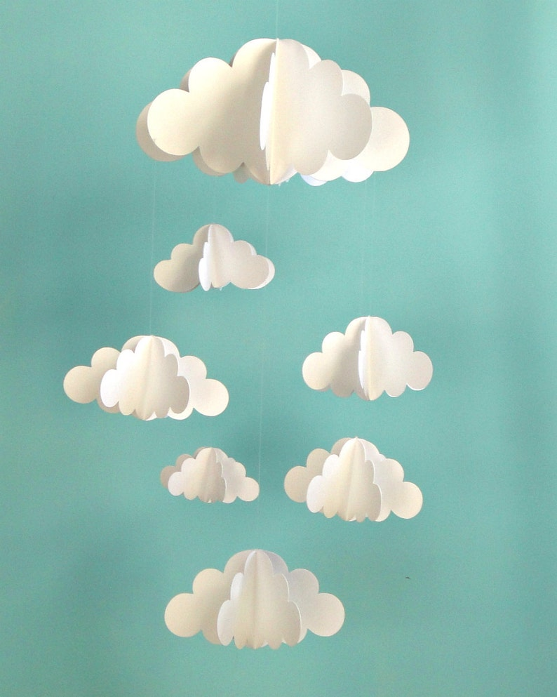 Cloud Baby Mobile Hanging Baby Mobile 3D Paper Mobile image 0
