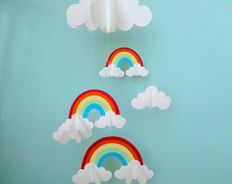 Rainbows and Clouds 3D Hanging Baby Mobile/3D Paper Mobile/Nursery Mobile