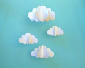 Cloud Mobile, Nursery Mobile, 3D Paper Cloud Mobile, Baby Mobile