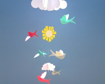 Bird Mobile, Baby Mobile, Birds and Cloud Mobile, Baby Mobile, 3D Mobile, Nursery Mobile
