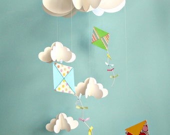 Kite Mobile, Baby Mobile, Nursery Mobile, Hanging Paper 3D Mobile