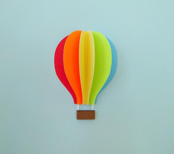 Hot Air Balloon Wall Decal Paper Wall Art Wall Decor 3D   Etsy