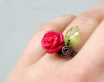Copper anniversary Rose ring in 15 colors, romantic copper botanical garden blossom resin jewelry, gift for girlfriend wife mom grandma