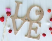 stacked LOVE word Art Wood Cutout Typography Wood Sign