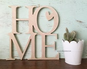 stacked HOME word Art Wood Cutout Typography Wood Sign