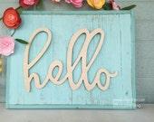 skinny hello Word Art Wood Cutout Typography Wood Sign