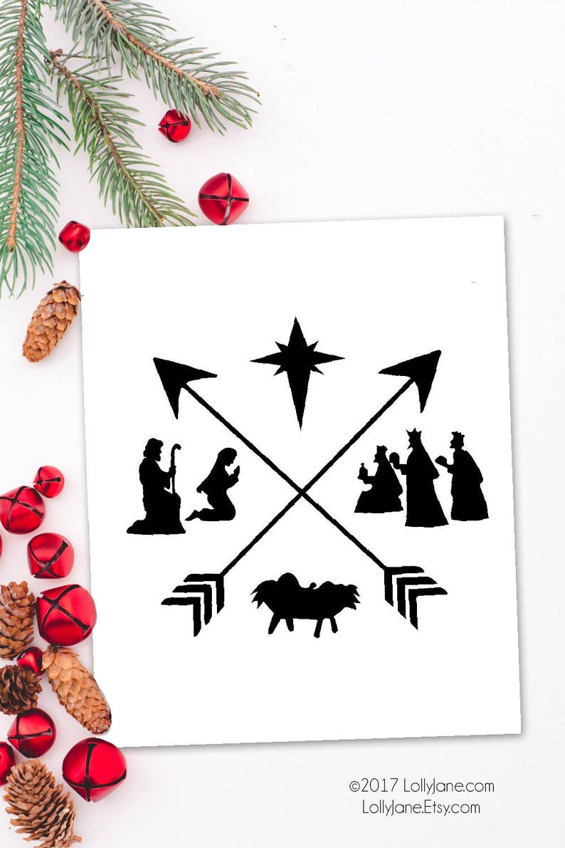 graphic relating to Nativity Silhouette Printable called Printable Artwork Nativity Silhouette Xmas artwork Xmas decor  Nativity artwork Electronic print Nativity Electronic Artwork