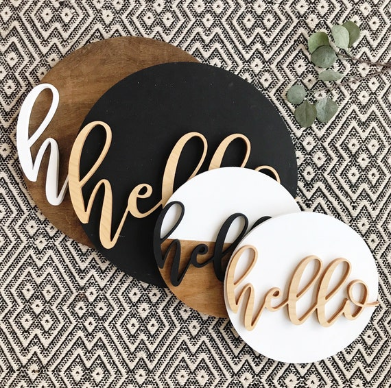 Round Modern Hello Sign Greeting Sign Wood Sign Door Sign