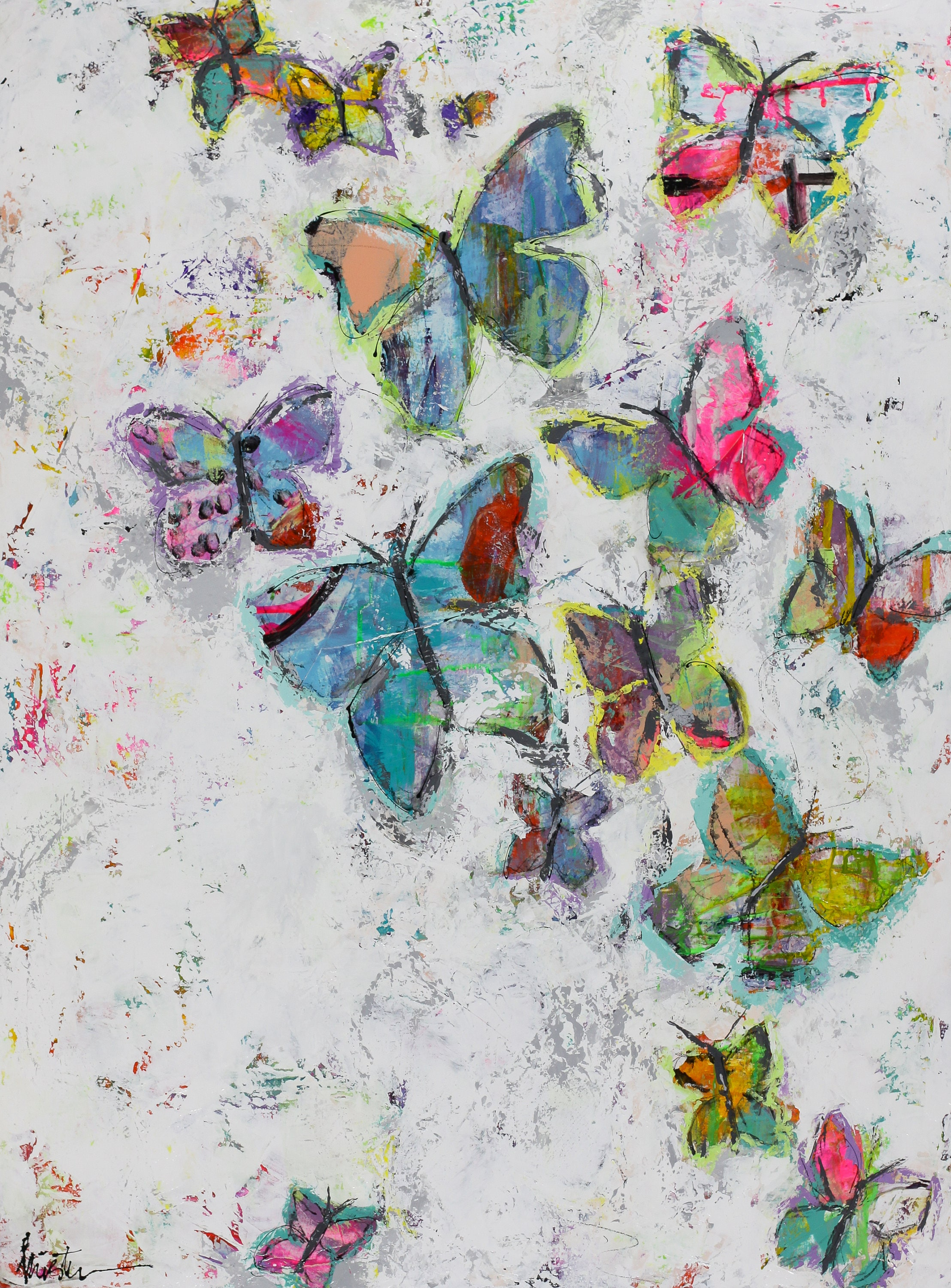 Butterfly canvas painting abstract art 3/4 thick   Etsy